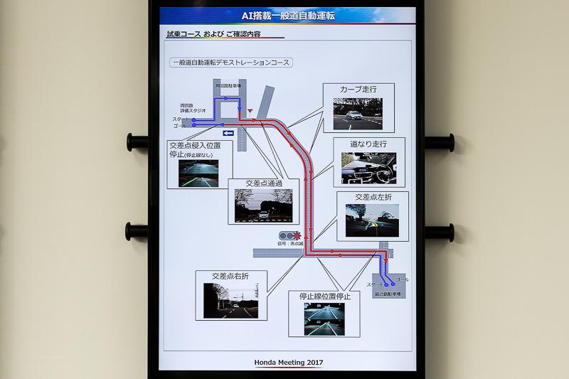 AI搭載一般道自動運転のコース図