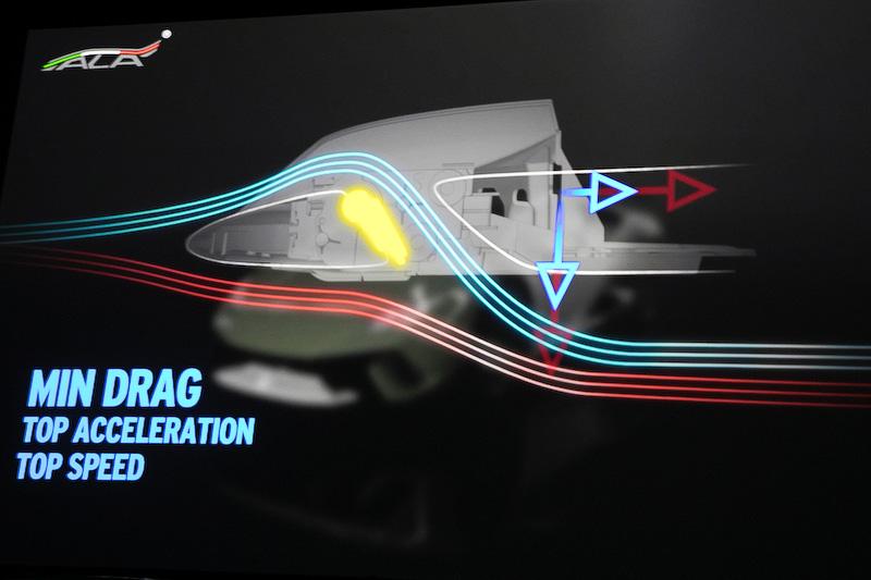 エアロダイナミクスでは前後のバランスを取ることが大事なので、ウラカン・ペルフォルマンテではフロントにもALAを採用。こちらはフロントバンパーの開口部にフラップを設けている。ドラッグを減らしたい場合はこのフラップを開け、開口部から入った風を車体下部へ流す構造にしている