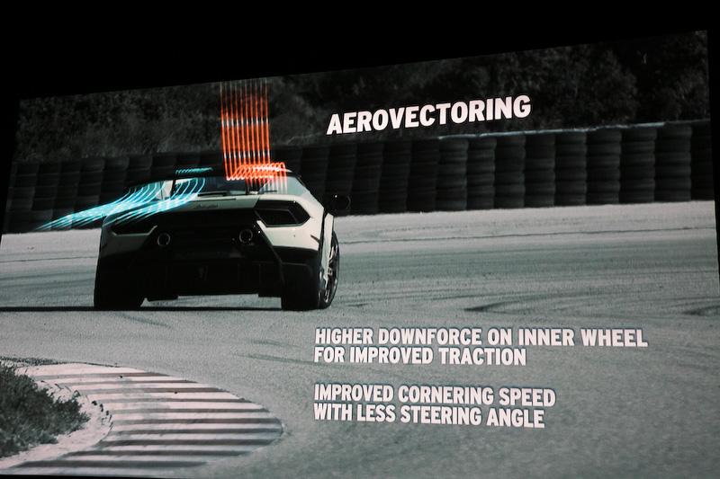 コーナリング時は、トラクションを掛けたい側のリアタイヤが機能するよう、左右でダウンフォースの掛かり具合を変化させる