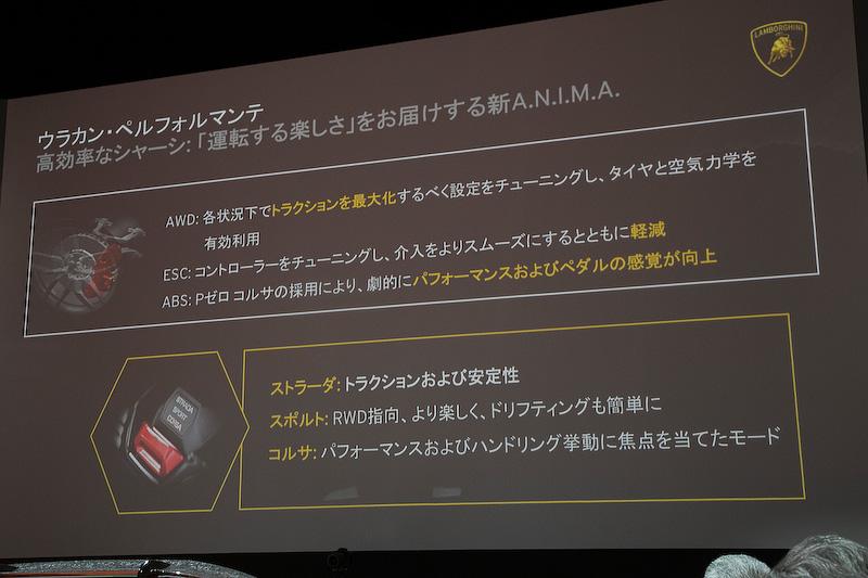 ALAの効果によるトラクションアップ、AWDの制御、新P ZERO CORSAのパフォーマンスなどを生かすために、ランボルギーニのドライビングモード制御である「A.N.I.M.A」も新バージョンを搭載