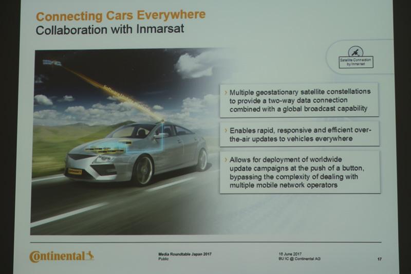 英インマルサットとのコラボレーションで通信衛星を活用したコネクテッドカー技術も開発中。衛星を使っても通信コストが高くならないようにしたいと述べられた
