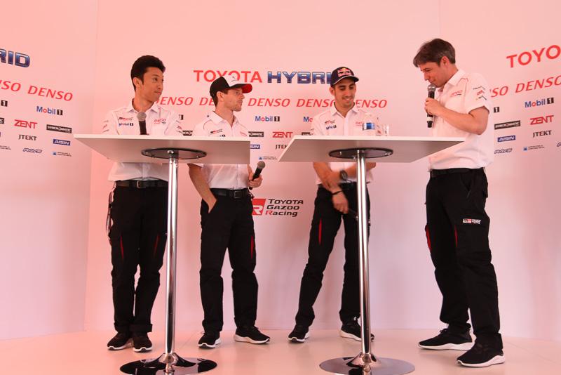 トヨタ8号車のクルー。左から、中嶋一貴選手、アンソニー・デビッドソン選手、セバスチャン・ブエミ選手