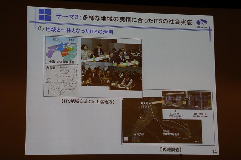 テーマ3「多様な地域の実情に合ったITSの社会実装」では、国内の地域別だけでなく、国際展開も含めた活動となる