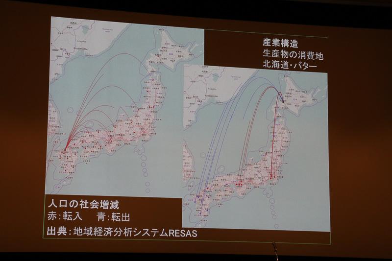 左の地図は、福岡を起点として人口の流入と流出を見える化したもの。右は北海道のどのような物品がどの地域に運ばれているかを示している