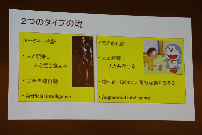 """人間を環境として位置付けた場合、AIは""""ターミネーター型""""ではなく、""""ドラえもん型""""を目指して研究が進められていくだろうと池内氏は語る"""