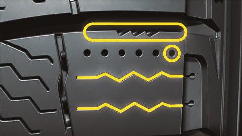 X-ICEシリーズに採用される「トリプル・エフェクト・ブロック」。効果的な除水を実現する「マイクロポンプ」、安定した接地面で強力にグリップする「クロスZサイプ」、エッジ効果を高める「ZigZagマイクロエッジ」を採用