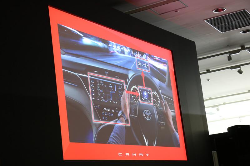 広々とした車内のスペースに加え、視認性のよさで走りのよさをアシスト。また、ドライバーが運転に集中できるよう、新採用のカラーヘッドアップディスプレイやマルチインフォメーションディスプレイ、センターコンソールのナビ画面で表示内容を連携させ、運転中の視線移動が少なくなるよう最適化している