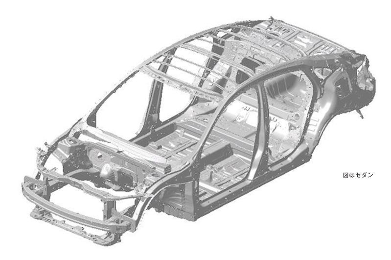 新型シビック セダンのホワイトボディ。「インナーフレーム骨格構造」によって主要なフレームの結合効率を高め、ボディ骨格自体を強固に仕上げて補強材の使用を最小限にとどめることで軽量化している