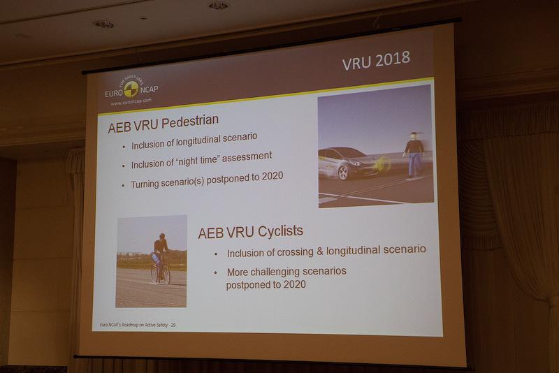テストはクルマ対クルマ、歩行者保護、レーンサポート。今後は自転車保護用の衝突被害軽減ブレーキが加わる