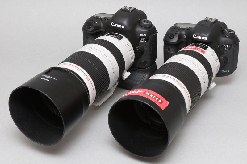 右がEOS 7D Mark II+EF100-400mm F4.5-5.6L IS II USM(写真は筆者の私物)。左がEOS 5D Mark IV(バッテリグリップ付)+EF100-400mm F4.5-5.6L IS II USM
