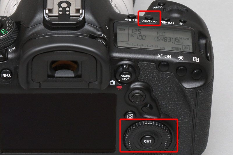 連写の設定は「DRIVE・AF」と書かれたボタンを押し、背面のサブ電子ダイヤルを回す