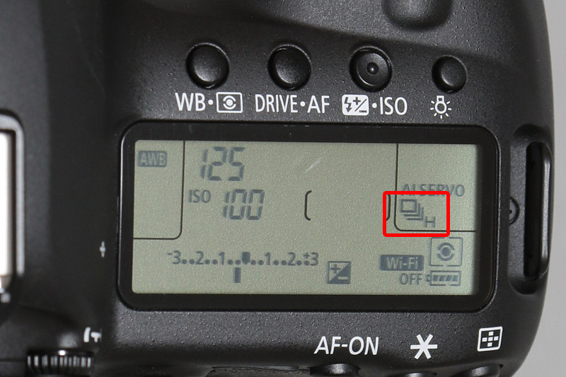 □Hと表示されたら最高速の7コマ/秒となる