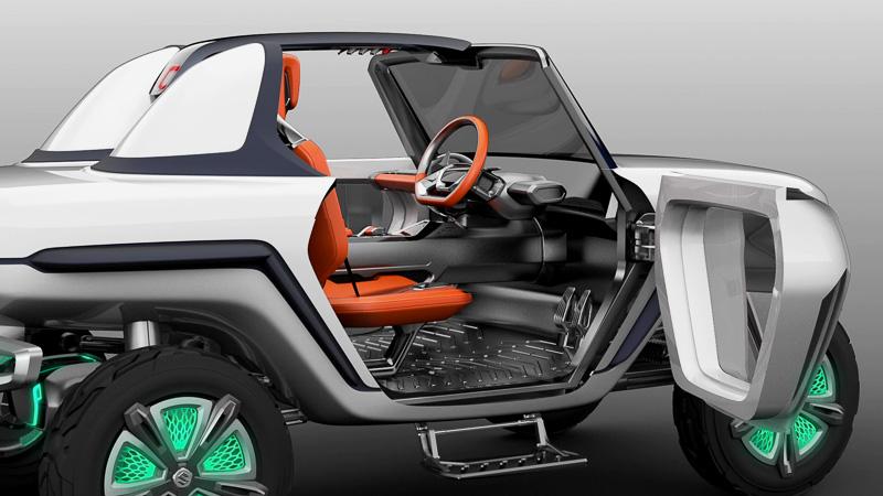 2シーターのオープンボディで、ボディカラーに透明感のある白を採用。ボディサイズは3460×1645×1655mm(全長×全幅×全高)で、ホイールベースは2300mm