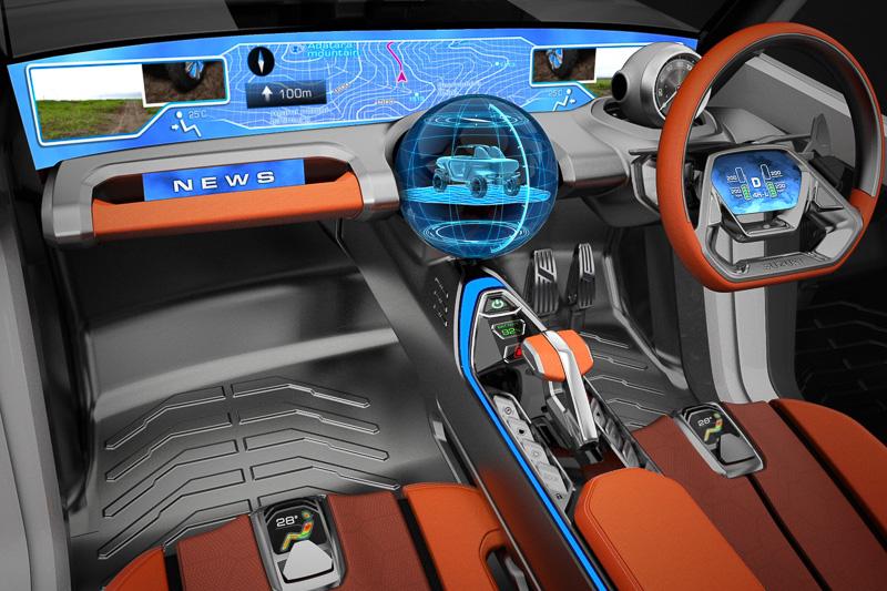 運転モードの切り替えに応じて色が変化する照明を採用。エクステリアの照明も連動して色が変化する