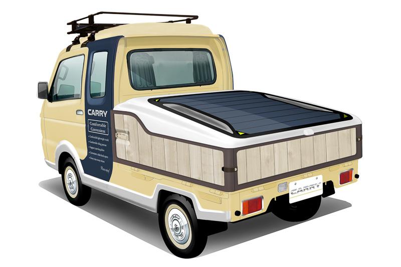 荷台には商品の展示や陳列が簡単かつきれいにできるボックスや引き出しを採用。上下に可動する荷台カバーには太陽電池や日よけタープを内蔵した