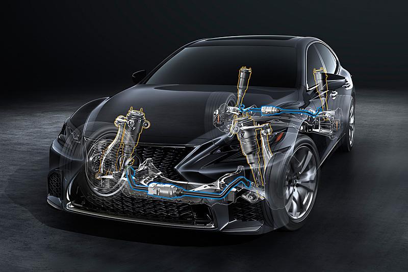 """""""F SPORT""""の走行性能を高めるVDIMは、VGRS、EPS、DRSを統合制御するレクサスダイナミックハンドリングシステム(LDH)にアクティブスタビライザーを協調制御させ、車両のロールや上下運動の統合制御を可能とした"""