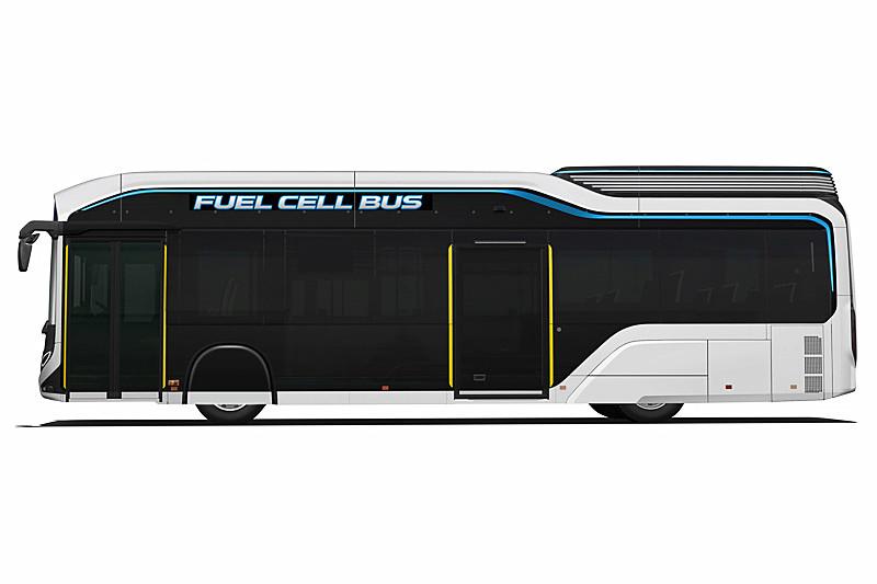 FCバスのコンセプトモデルSORAの外観。従来の路線バスのような六角形の箱形とは異なる立体的な造形とし、前後のライトにLEDを採用するなど一目でFCバスと分かる特徴的なデザインとした