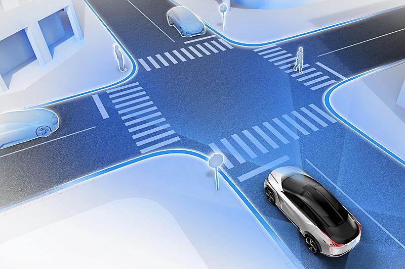 車両の360度をカバーするセンサーと完全自動運転のイメージ