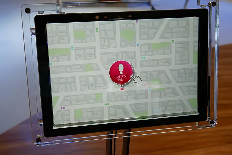 タブレットを利用した、自動運転技術に関するデモ展示コーナーも用意