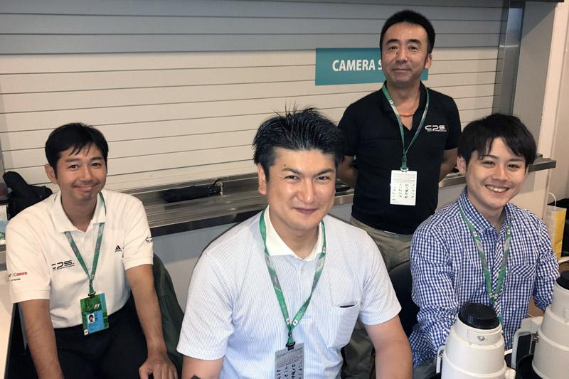F1のサポートメンバーは、左から徳元信宏さん(西日本プロサポート課)、山室雄さん(大分サービス推進部)、久保田暢さん(西日本プロサポート課)、津田聡太郎さん(東日本プロサポート第二課)