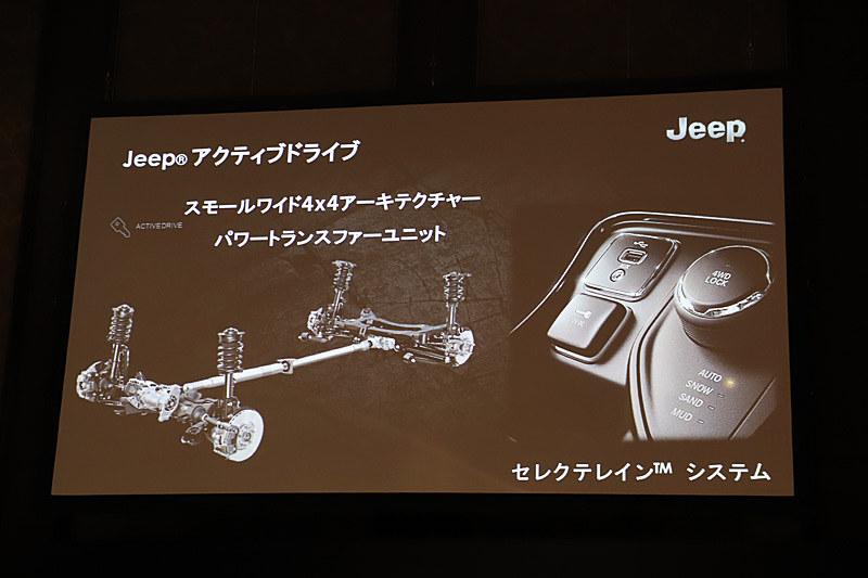 Limitedには「ジープ アクティブドライブ」を採用。「レネゲード」と同じアーキテクチャーを少し引き延ばした「スモールワイド4×4アーキテクチャー」に、天候や路面状況に合わせて4つのモードを切り替えられる「セレクテレインシステム」を搭載。AUTOでは2WDと4WDの切り替えがドライバーの介入なしにシームレスに行なうことができるようになり、燃費の向上にも貢献する