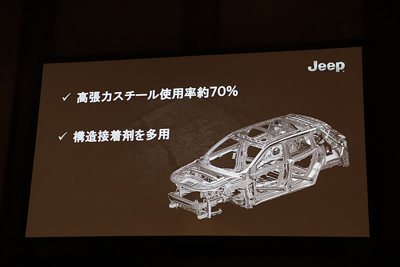 ボディ剛性について。高張力スチールの使用率を約70%に高め構造接着剤を多用することで、車両の運動性能や衝突安全性能を高めている