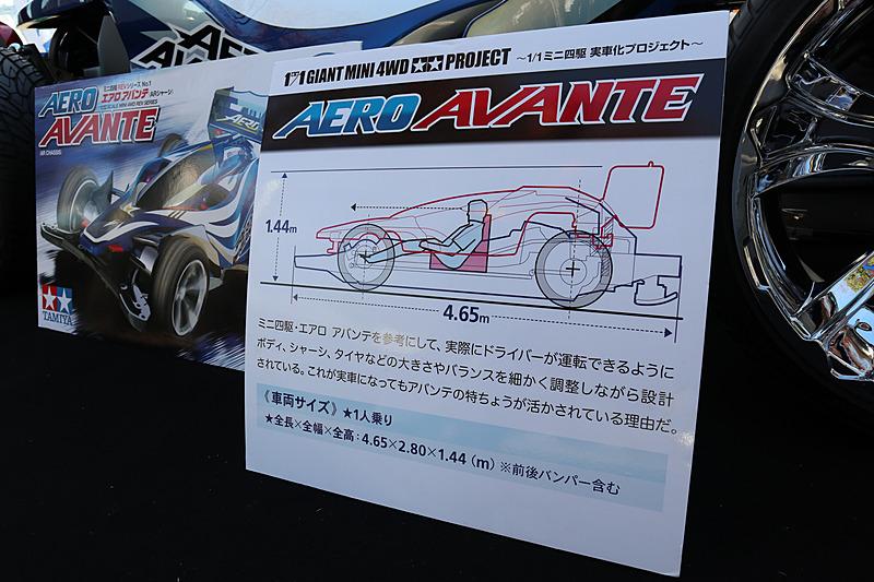 実車版ミニ四駆「エアロ アバンテ」の主なスペック