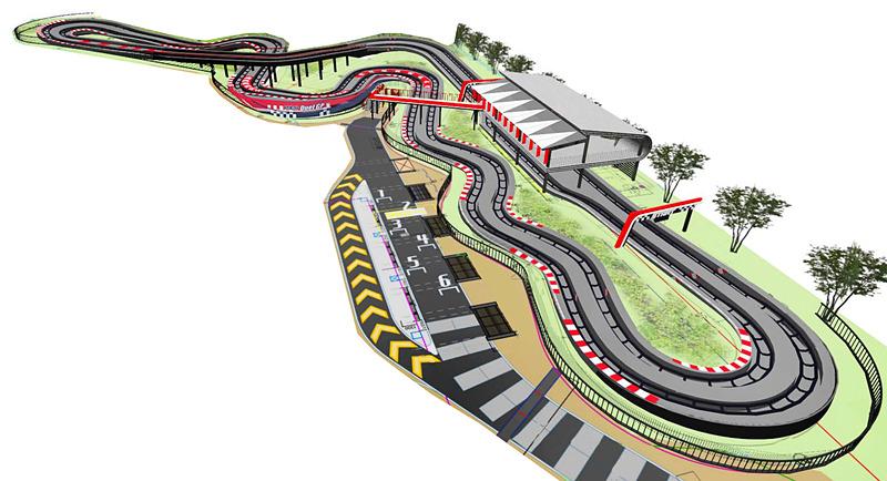 DUEL GPのコースは鈴鹿サーキットの国際レーシングコースと同形状の「8の字」スタイル。1周の乗車時間は約90秒で、ホームストレートではマシンが自動的に最高速の40km/hまで加速