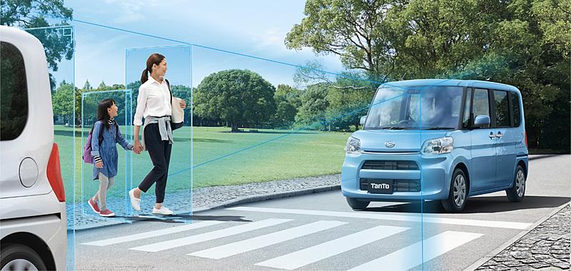 衝突回避支援ブレーキ機能が歩行者にも対応した「スマートアシストIII」のイメージ