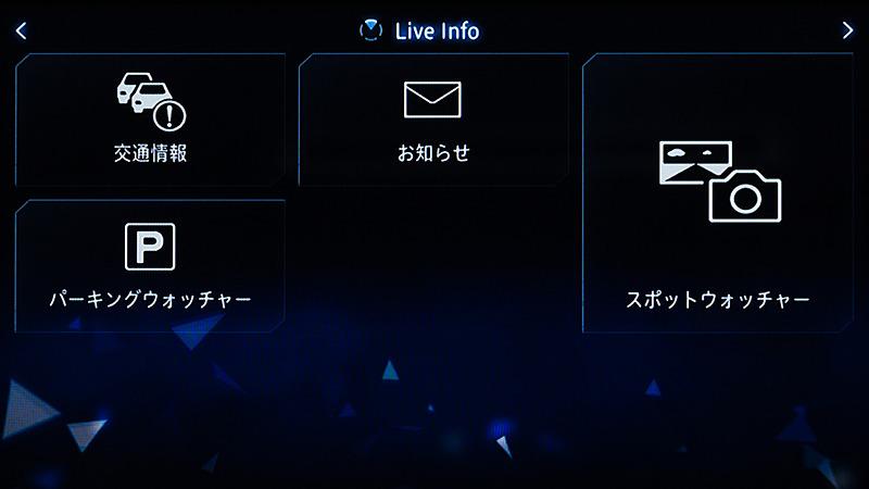 Live infoメニュー