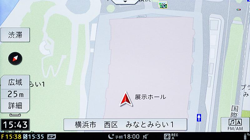 地下駐車場でもさすがの高精度。出口がピッタリなのが実は重要