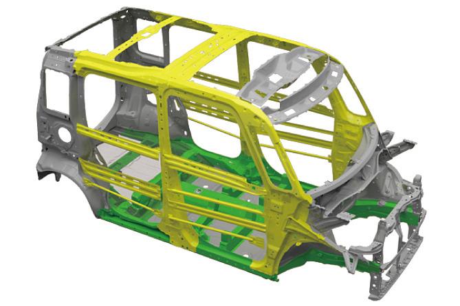 ボディでは1180MPaや980MPaといった超高張力鋼板の使用率を高めて軽量化を行ない、燃費性能を向上