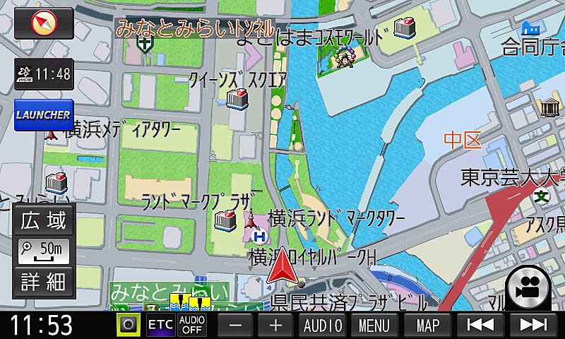 もっともベーシックな50mスケール。これは市街地図表示だが設定で通常地図に変えることもできる
