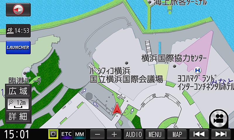 地下駐車場から地上に出るとすぐに正しい自車位置を表示
