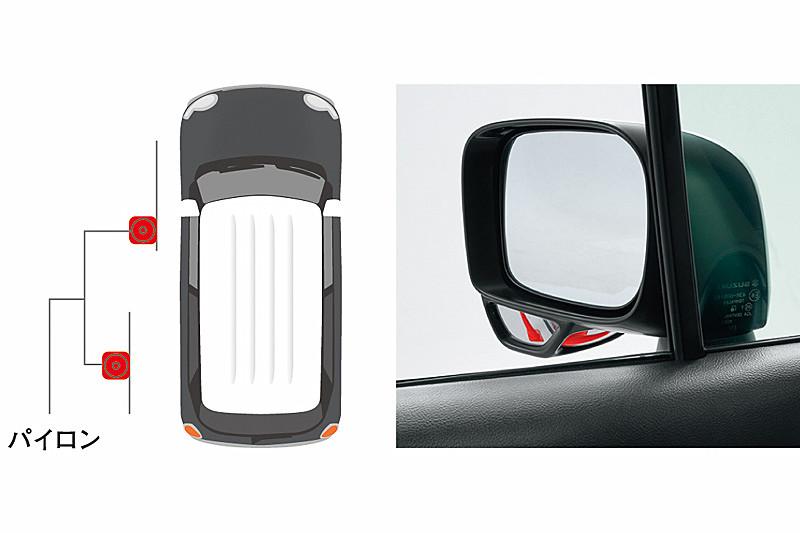 助手席の前輪付近などを確認できる「サイドアンダーミラー付ドアミラー」を採用