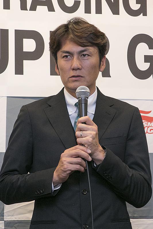 ドライバーの谷口信輝選手。入賞するだけでなく、優勝にこだわったレースをしていきたいと語った。