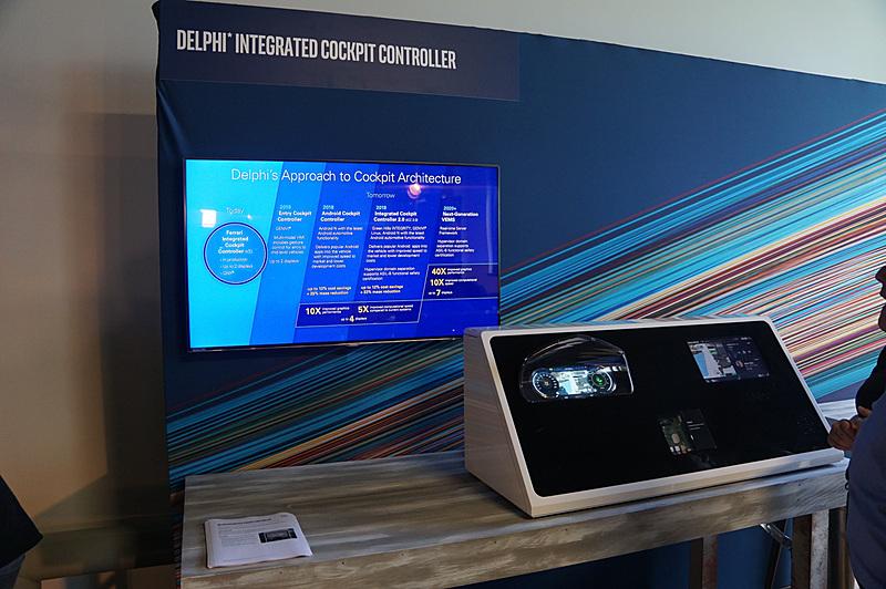 Delphiが試作したインテル Atomプロセッサーを利用して、メーターとIVIを実現するデモ。Intelの仮想化技術(Intel VT)を利用して、両方の機能を1チップで実現している