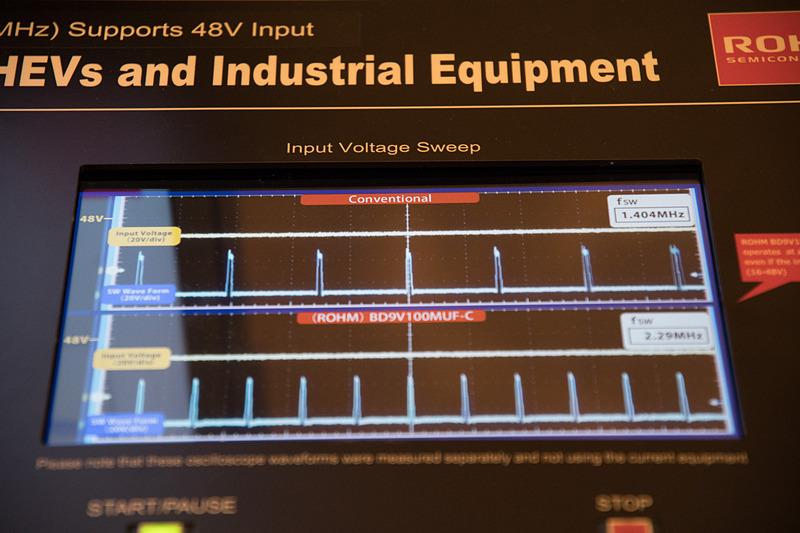 下が新製品、上が比較用製品。電圧が上がるにつれ、上の製品はパルス幅が広がり、周波数が変わっていく。これにより発生ノイズの範囲が広くなることを示している