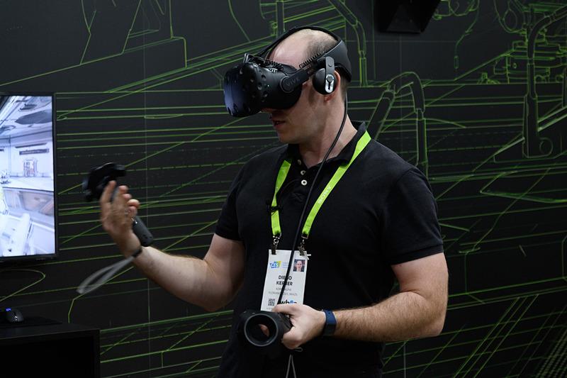 I.D.BUZZにNVIDIA DRIVE IXが搭載されることが発表されたが、会場はワーゲンバスと、そのVR映像を楽しめるHolodeck体験コーナーを用意