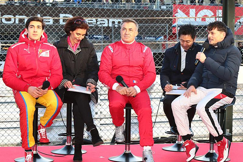 左からジュリアーノ・アレジ選手、ジャン・アレジ氏、ジャンカルロ・フィジケラ選手