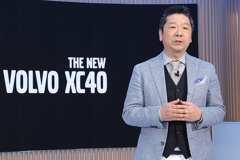 新型XC40のポジショニングなどについて解説する木村氏
