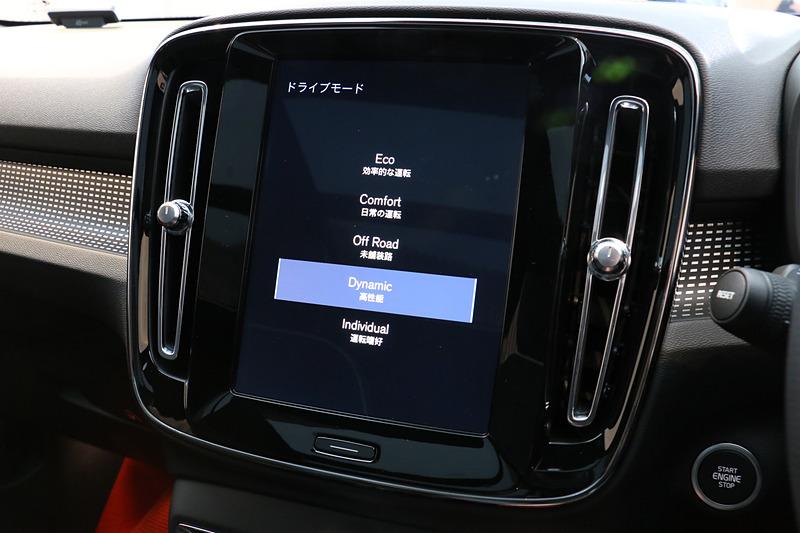 メーターディスプレイの表示はドライブモードに合わせて4種類に変化する