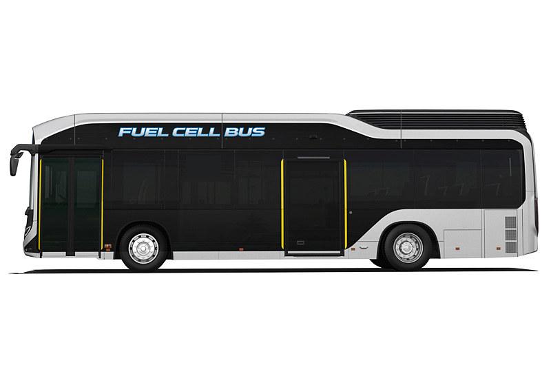 箱形の路線バスとは異なる立体的なデザインを採用