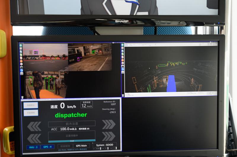 左上が車外映像。ディープラーニングによってオブジェクト認識されている