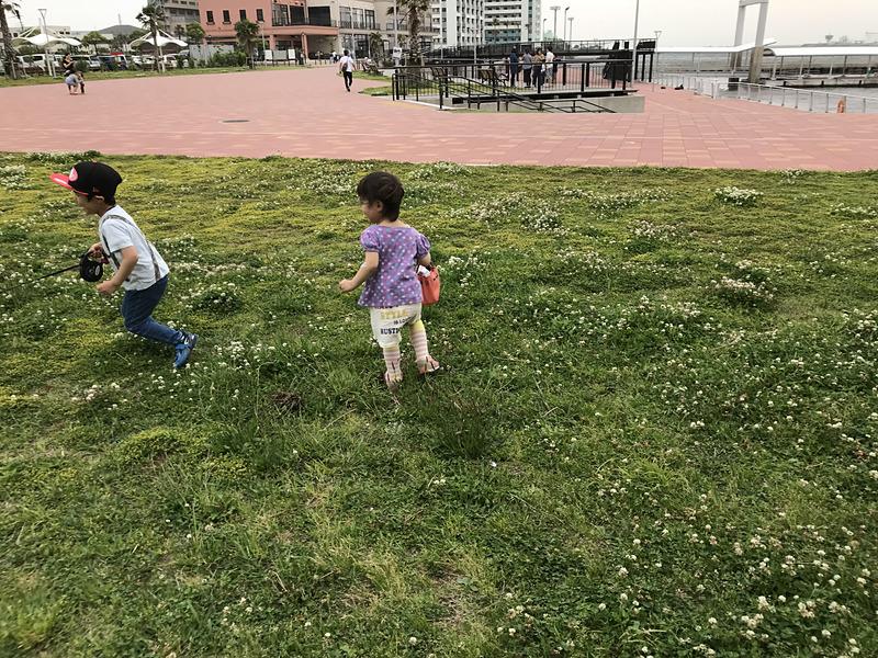 海辺の遊歩道には芝生も広がっていて、子供たちや愛犬を遊ばせるのにちょうどいいところです