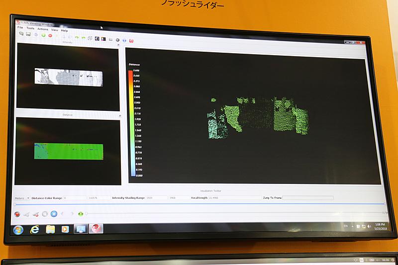 画面左上が物体の形状、左下が物体との距離になり、これ組み合わせて点群データを生成している