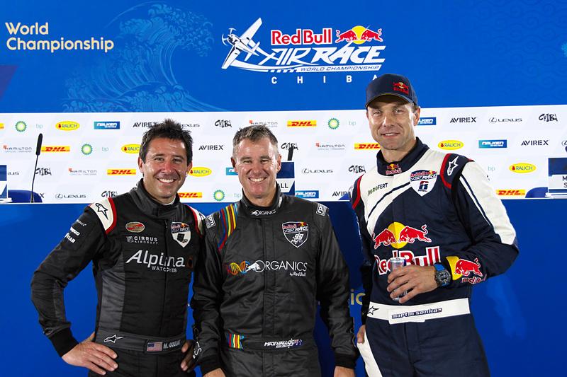 左から2位のマイケル・グーリアン選手、優勝のマット・ホール選手、3位のマルティン・ソンカ選手