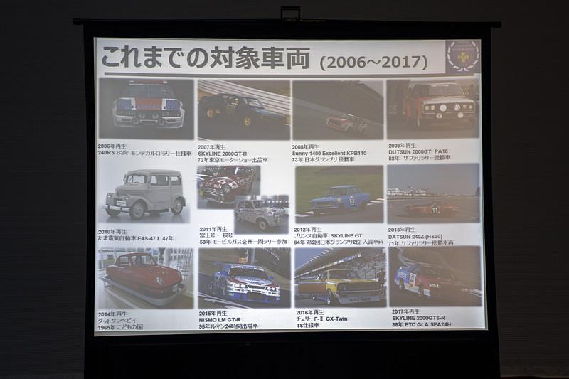 日産名車再生クラブについての解説と、これまで手がけてきた車両。ユニークなチョイスが多い印象