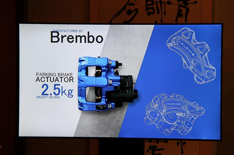 世界初の電動パーキングブレーキを内蔵したブレンボ製リアブレーキキャリパー