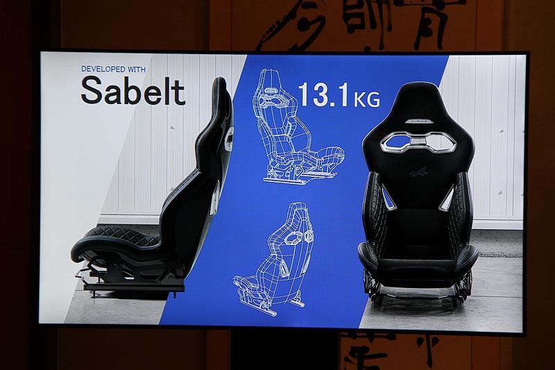 サベルト製スポーツシートは1脚あたり13.1kgという軽量のもの